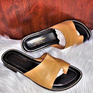 DONALD J. PLINER 'Gigli' Tan Leather Mule Slides
